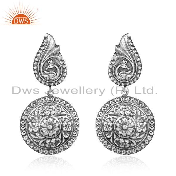 Antique Floral Design Tribal Sterling Silver Womens Earrings Jewelry