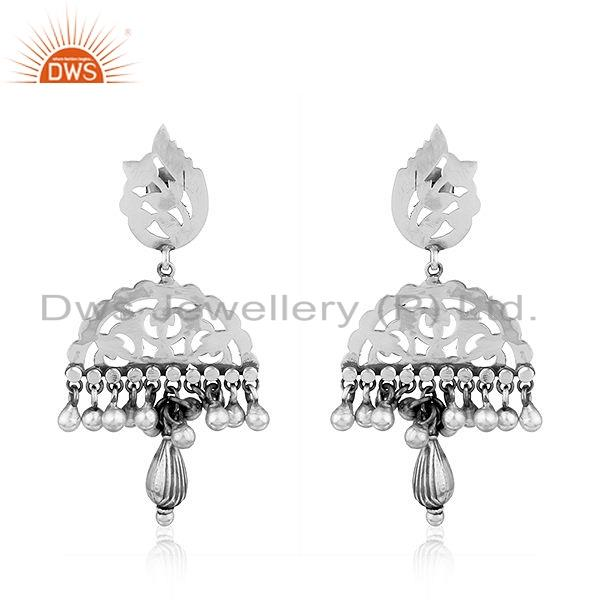 Jhumka Design Sterling Plain Silver Antique Oxidized Earrings Jewelry