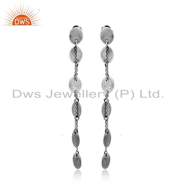 New Arrival Oxidized Plated 925 Sterling Silver Chain Dangle Earrings