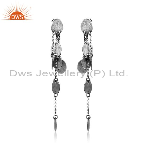 Antique 925 Sterling Silver Oxidized Plated Designer Earrings Jewelry
