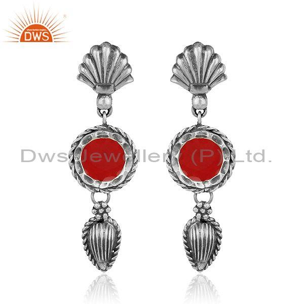 Antique Oxidized Plated 925 Sterling Silver Red Enamel Earrings