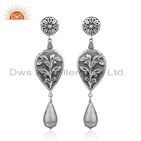 925 Sterling Silver Oxidized Floral Design Earrings Jewelry For Girls
