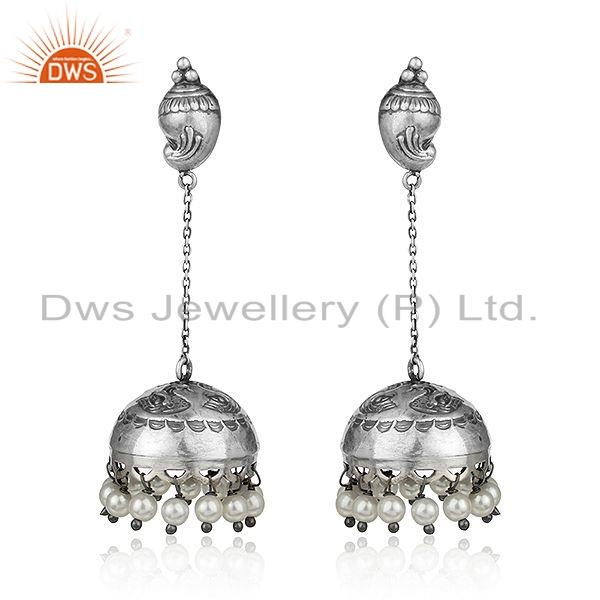 Natural Pearl Gemstone Oxidized Antique Sterling Silver Jhumka Earring