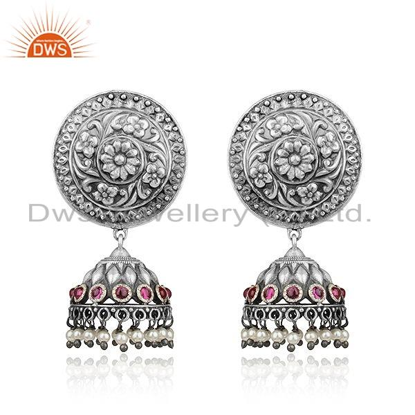 Pink Hydro  Natural Pearl Oxidized Tribal 925 Silver Jhumka Earrings