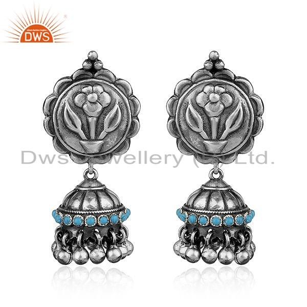 Floral Design Oxidized 925 Sterling Silver Turquoise Gemstone Earrings