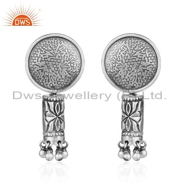Texture oxidized 925 sterling silver antique design earrings jewelry