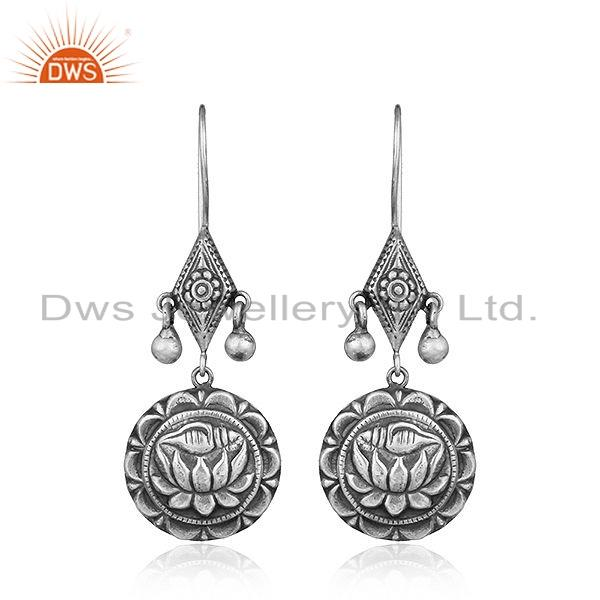 Louts Carving Design Oxidized Sterling Plain Silver Earrings Jewelry