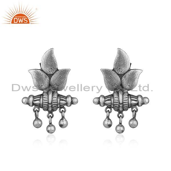 Oxidized 925 sterling plain silver antique design earrings jewelry