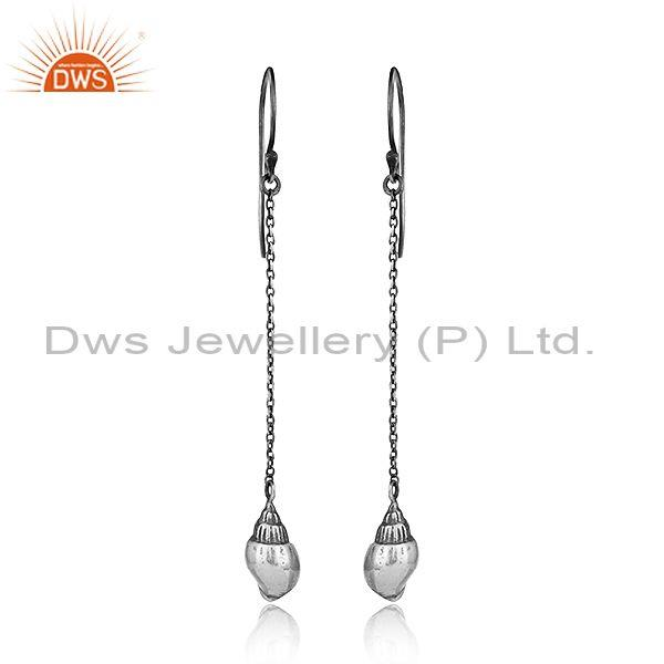 New design antique oxidized plated sterling silver chain hook earrings
