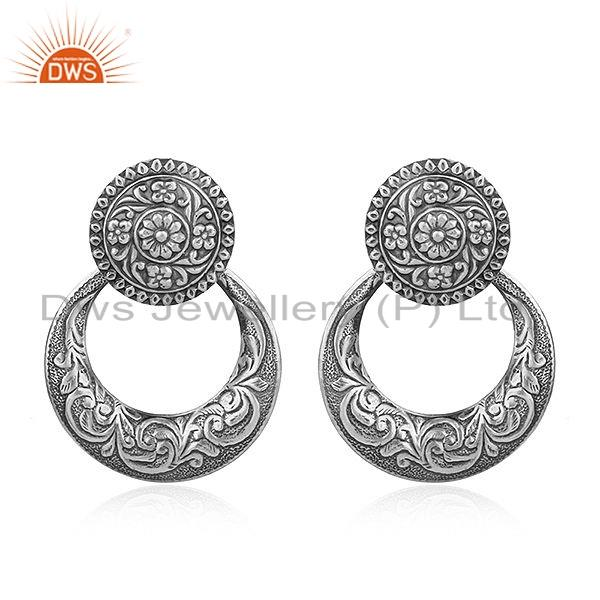 Tribal Oxidized Sterling Silver Chand Bali Traditional Earrings Jewelry