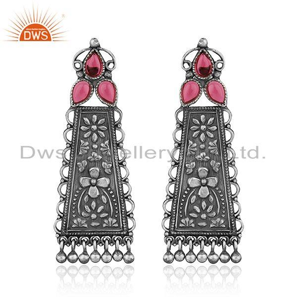 Floral Carved Hydro Pink Gemstone Oxidized 925 Silver Earrings Jewelry