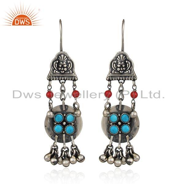 Coral Turquoise Gemstone womens Oxidized Antique Silver Earrings