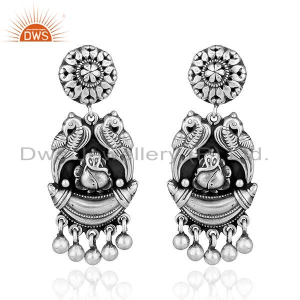 Lord Ganesh Oxidized Sterling Plain Silver Temple Earrings Jewelry