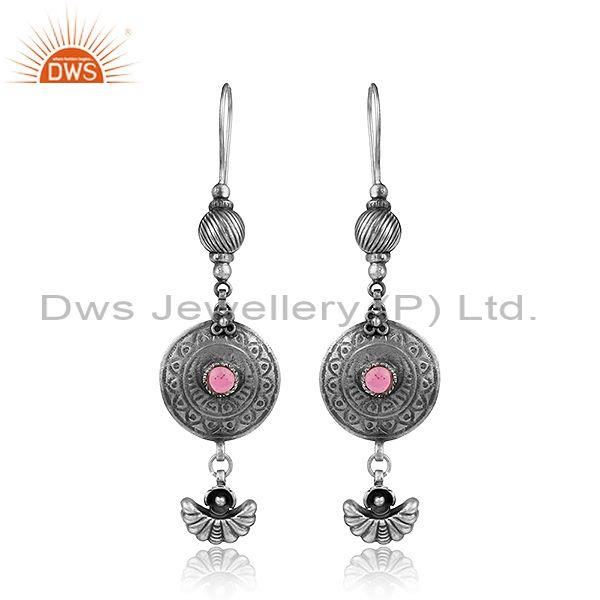 Oxidized Sterling Silver Hydro Pink Gemstone Antique Earrings Jewelry