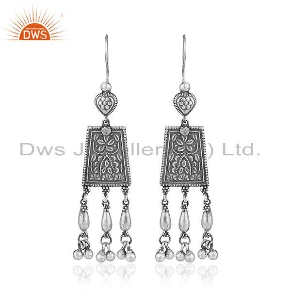 Womens Antique Oxidized 925 Sterling Silver Temple Earrings Jewelry