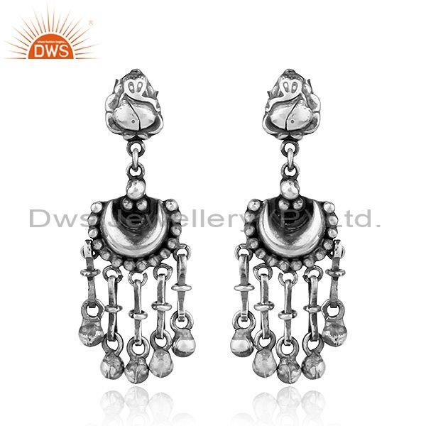 Lord Ganpati Design Traditional Oxidized 925 Sterling Silver Earrings