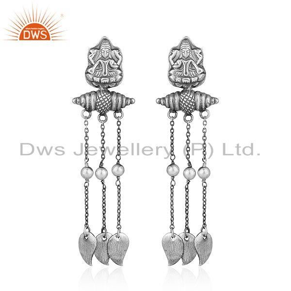 Traditional Oxidized Sterling Silver Womens Temple Earrings Jewelry