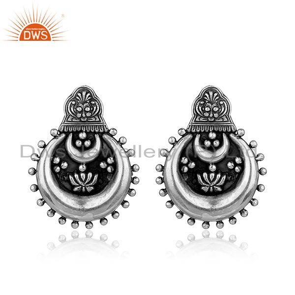 Black Oxidized Chand Bali design 925 Sterling Silver Earrings Jewelry