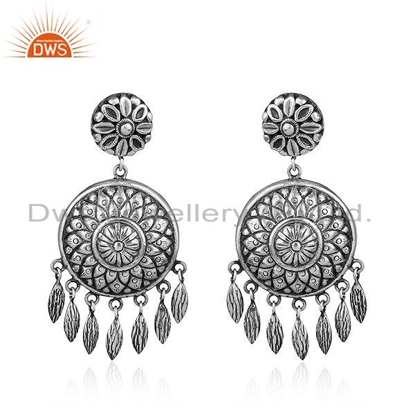 Traditional Design Antique 925 Silver Oxidized Earrings Jewelry