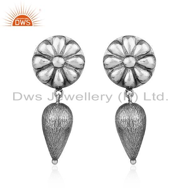 Flower Shape Oxidized Tribal Sterling Plain Silver Earrings Jewelry