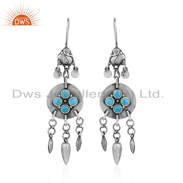 Natural Turquoise Gemstone Tribal Sterling Silver Oxidized Earrings