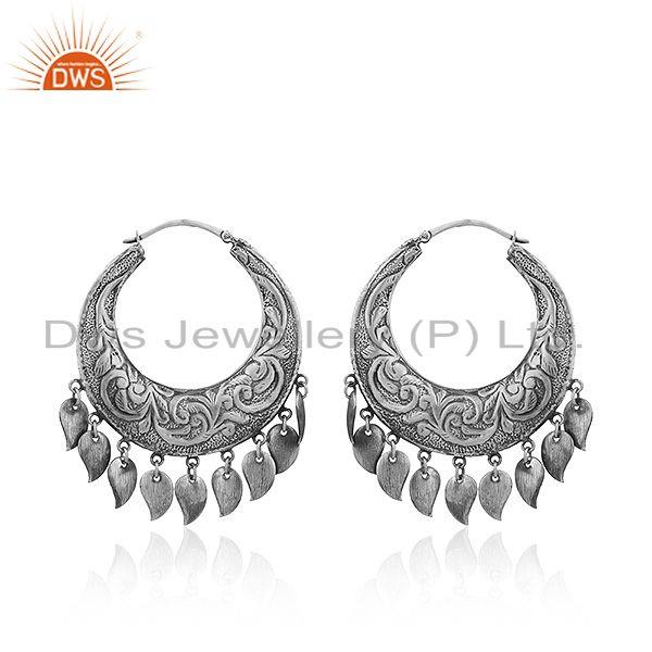 New Antique Design Sterling Silver Oxidized Design Earrings Jewelry