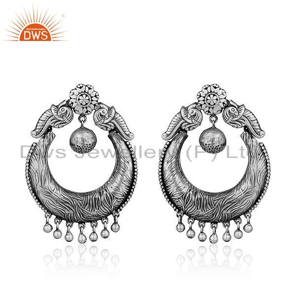 Antique Chand Bali Sterling Silver Oxidized Womens Earrings Jewelry