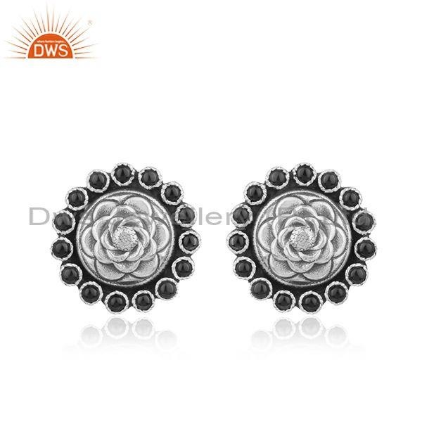 Flower design oxidized silver black onyx gemstone stud earrings