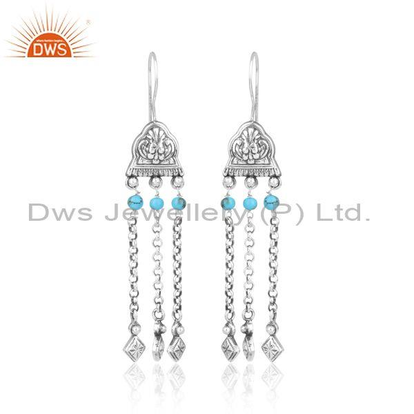 Turquoise Beads Set Oxidized Sterling Silver Ethnic Earring