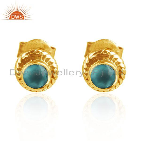 18k Gold Plated Designer 925 Silver Aqua Chalcedony Stud Earrings