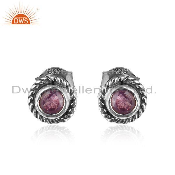 Round Oxidized 925 Silver Natural Amethyst Gemstone Stud Earrings