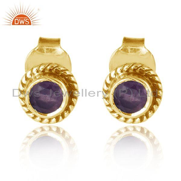Round gold plated wondring design silver amethyst stud earrings
