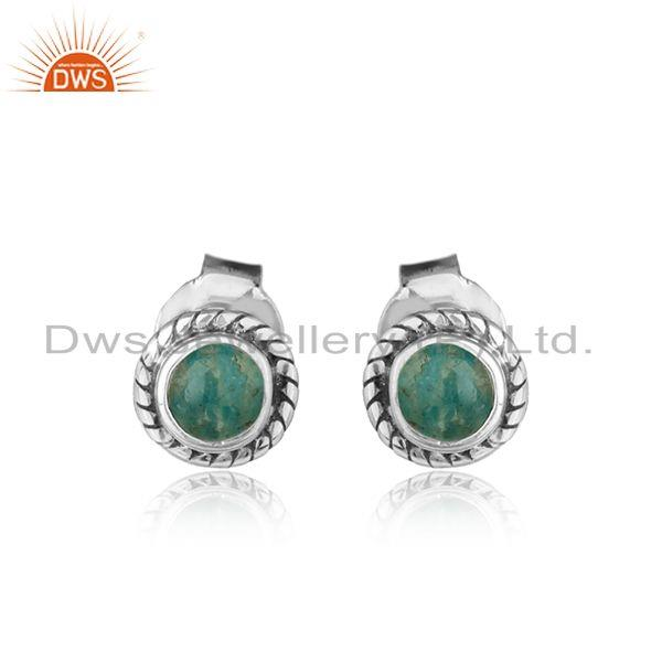 Amazonite gemstone oxidized sterling silver tiny stud earrings