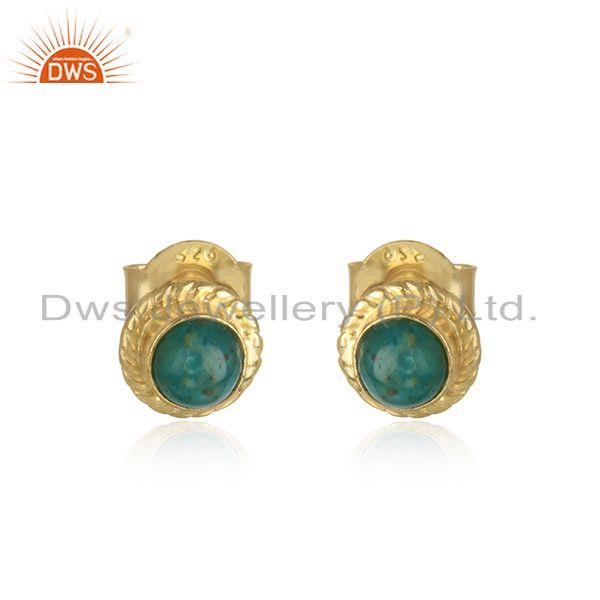 Amazonite gemstone gold plated girls silver stud earrings jewelry