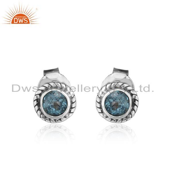 Blue Topaz Gemstone Antique Sterling Silver Oxidized Stud Earrings
