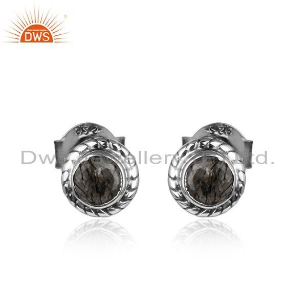 Oxidized Sterling Silver Black Rutile Gemstone Tiny Stud Earrings