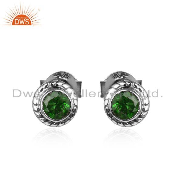 Round cut chrome diopside gemstone oxidized silver stud earrings
