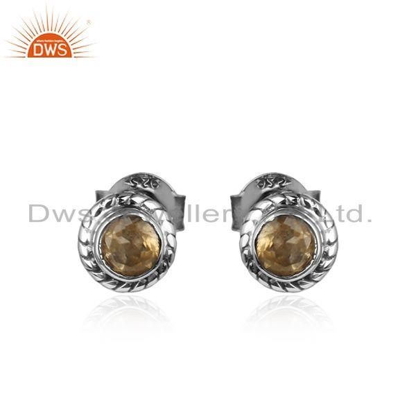Citrine Gemstone Oxidized 925 Silver Designer Tiny Stud Earrings