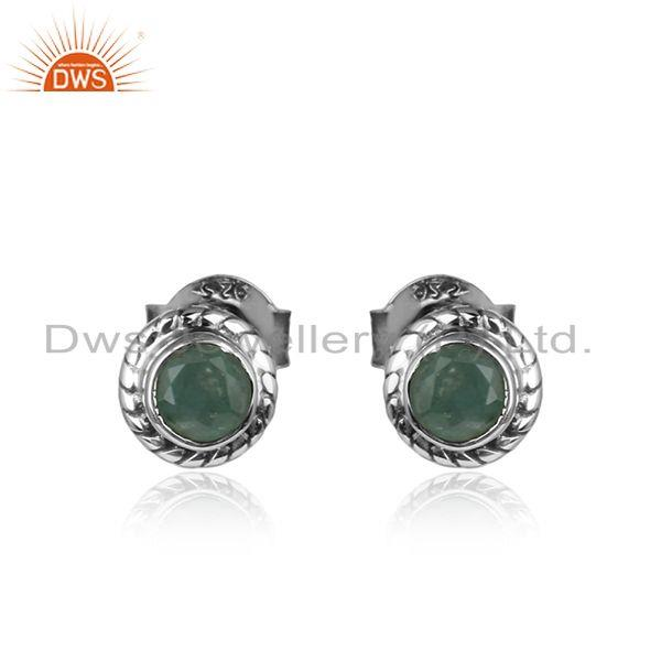 Natural Emerald Gemstone Oxidized Silver Womens Tiny Earrings