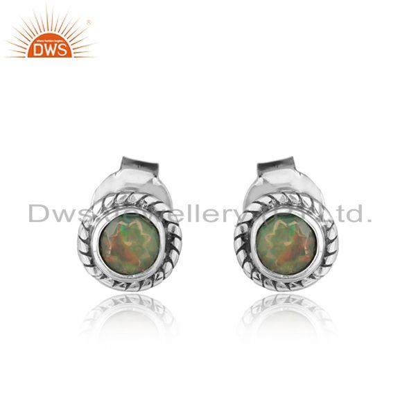 Round ethiopian opal gemstone oxidized 925 silver tiny stud earrings