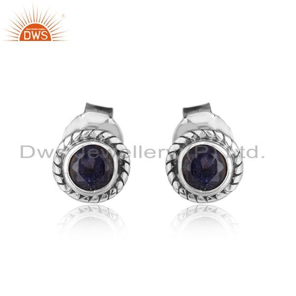 Iolite gemstone antique oxidized silver round tiny stud earrings