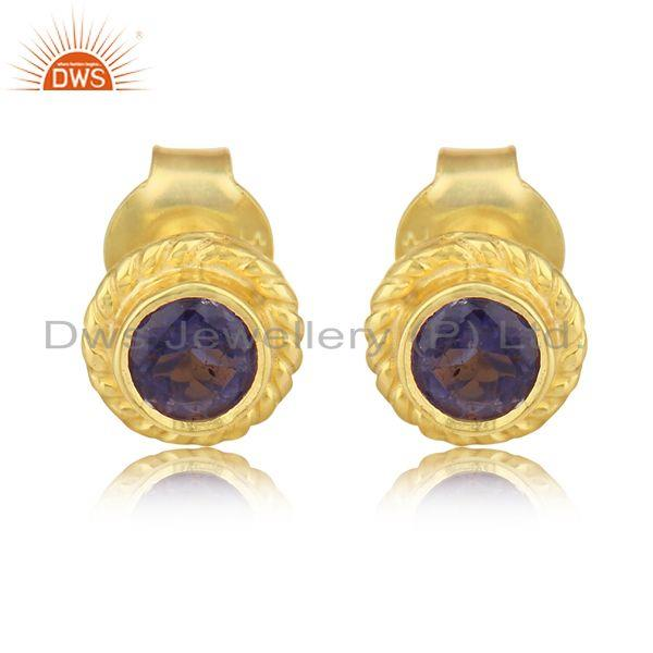 Textured Handmade Earring in Yellow Gold on Silver with Iolite
