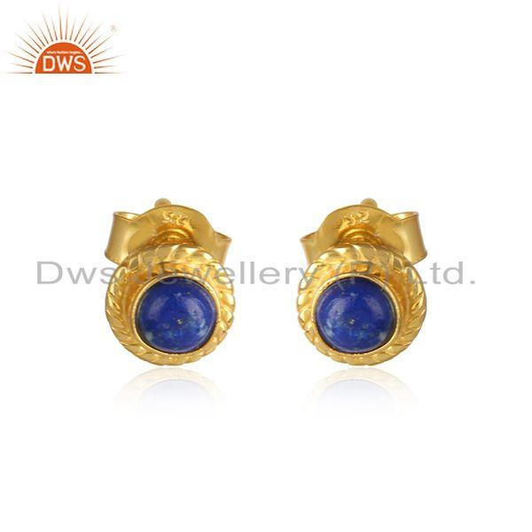 Lapis lazuli gemstone designer gold plated silver stud earrings