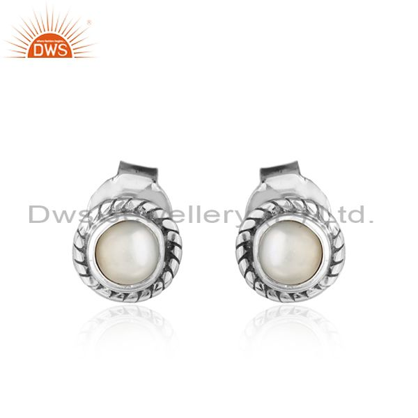 Natural pearl gemstone womens sterling silver oxidized stud earrings