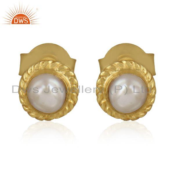 Designer Gold Over Silver Natural Pearl Gemstone Stud Earrings