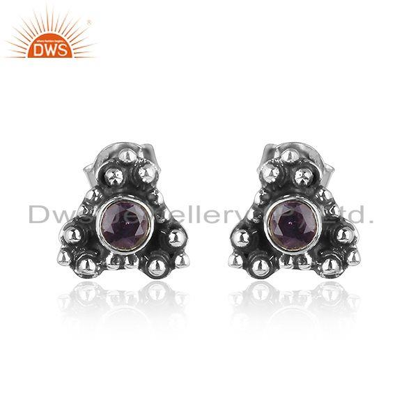 Antique Design Oxidized Silver Amethyst Gemstone Stud Earrings