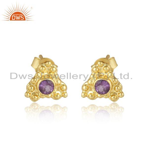 Handmade gold plated 925 silver amethyst gemstone stud earrings