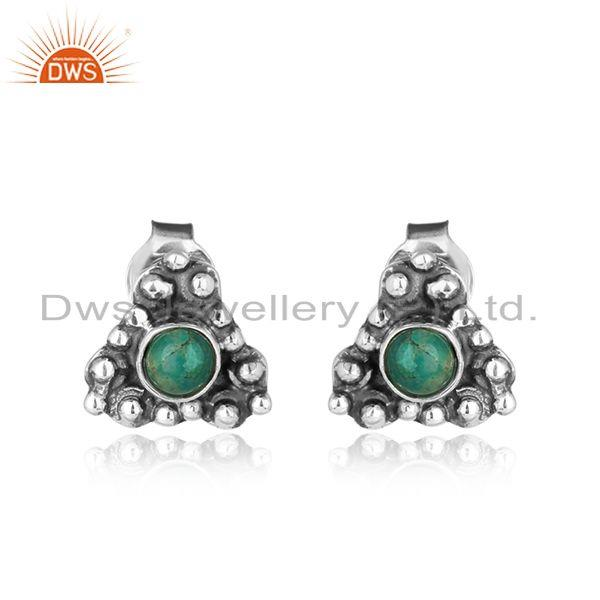 Oxidized 925 sterling silver womens amazonite gemstone stud earring