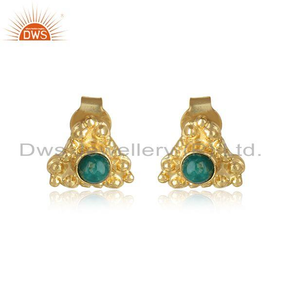 Amazonite gemstone designer gold plated silver stud earrings