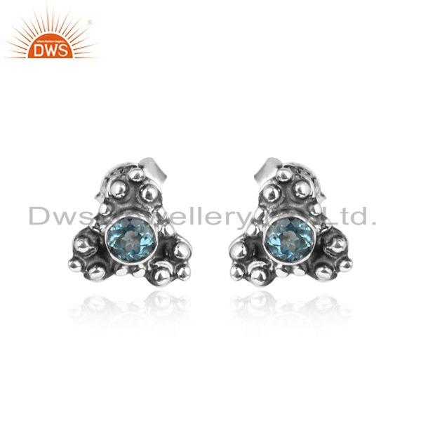 Handmade Oxidized Silver Blue Topaz Tiny Stud Earrings For Womens